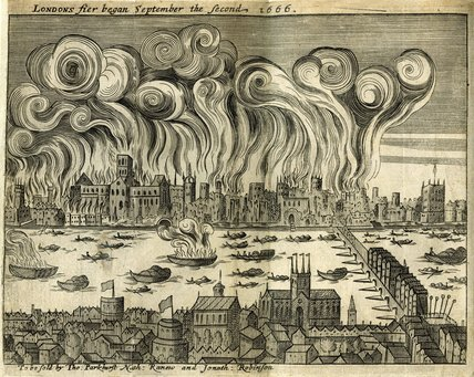 The burning of London in the year 1666