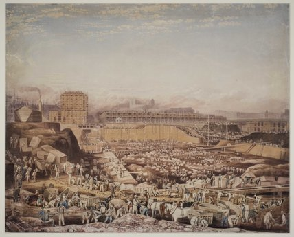 The building of St Katherine's Dock; 1828