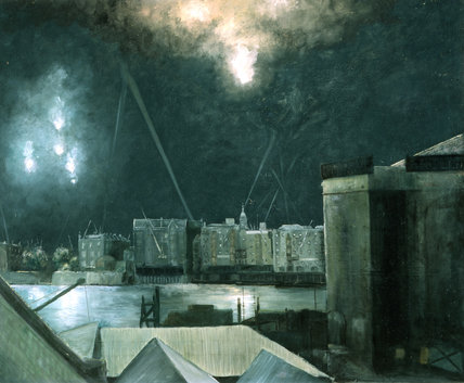 Night Raid over London Docklands; c1941
