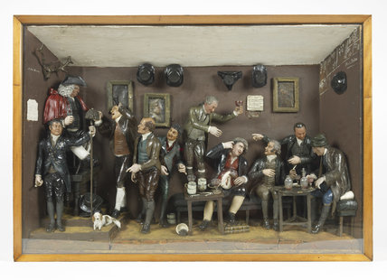 Wax model of a literary gathering at the Turk's Head Tavern; 178