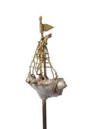 Pearl ship pin; c 1500