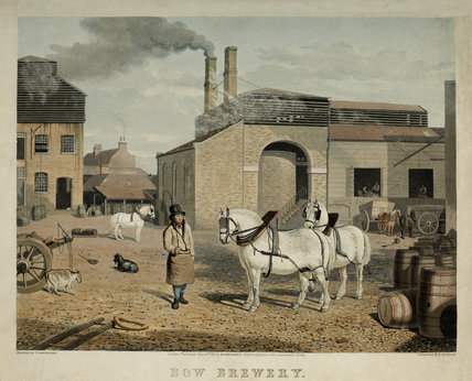 Engraving of the yard and works at Bow Brewery in 1827.