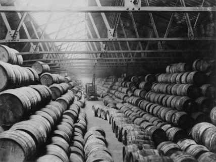 West India Docks: Barrels of rum: c.1930