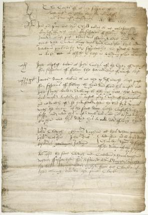 Document referring to the arrest of Richard Child: 1555