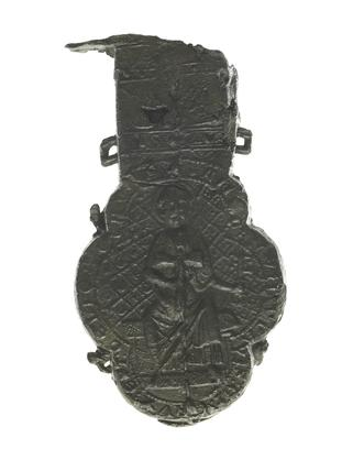 Pewter ampulla, holy water bottle: 13th century