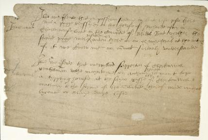 Manuscript describing two unlawful incidents: c.1557