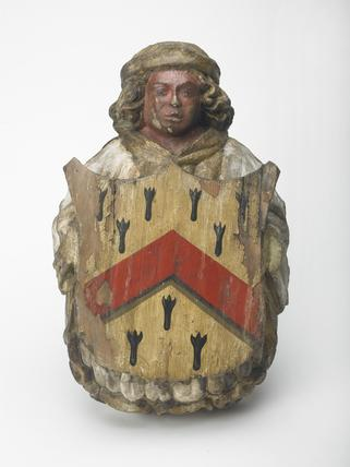 Carved and painted corbel in the shape of an angel: 1466
