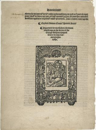 Page from a book by Robert Redman: c.1525