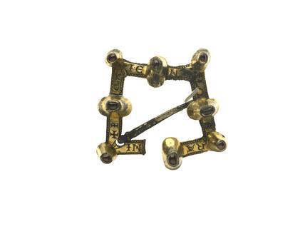 Silver gild square brooch: late 13th century