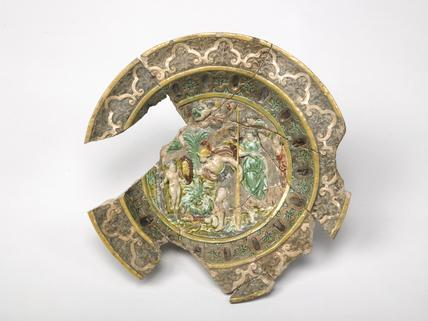 Small multi-coloured plate: early 16th century