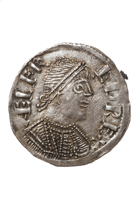 Obverse of a silver penny of King Alfred: c. 880