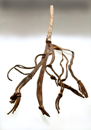 Leather whip with wooden handle: 11th century