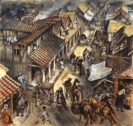 Street scene in Roman London