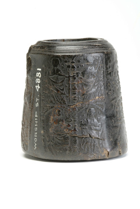 Black inkwell made from horn: 16th century