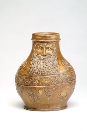 Stoneware jug with pale brown salt glaze: 16th century