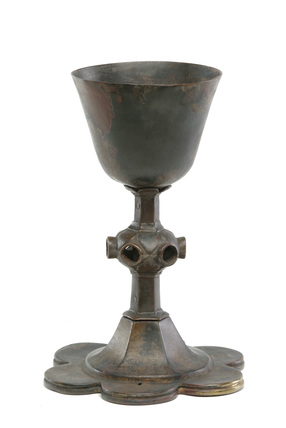 Brass chalice with a hexagonal stem: 15th century