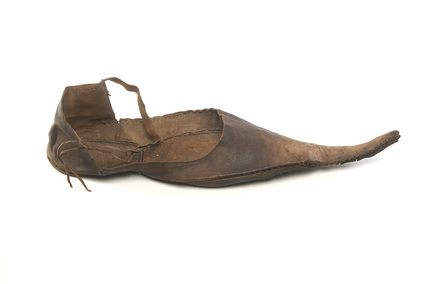 Brown leather shoe: 15th century