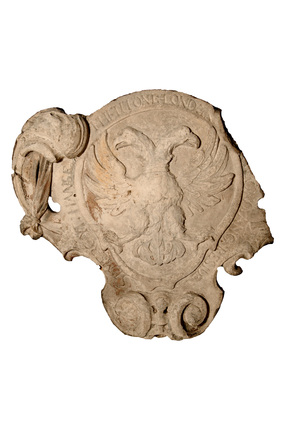 Double-headed eagle stone plaque: 17th century