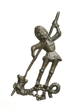 Pewter pilgrim badge of St George: 15th century