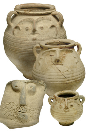 Selection of Roman face pots