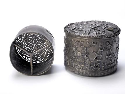 Roman silver box and strainer