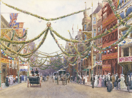 A decorated street during Edward VII's coronation: 1902