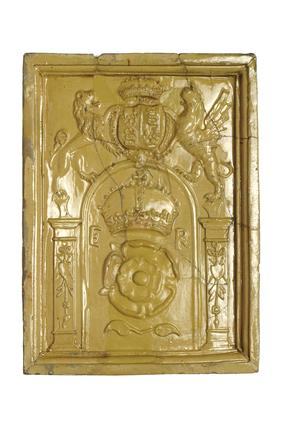 Stove tile of yellow-lead glazed earthenware: 16th century