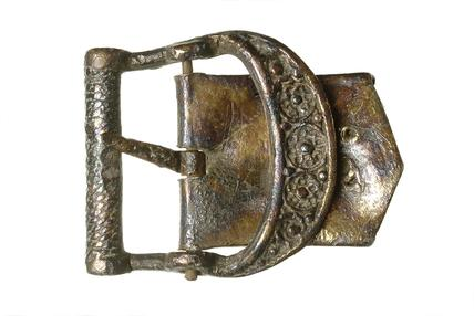 Pewter and iron buckle: 15th century
