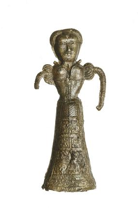 Lead alloy female toy figurine: 16th century