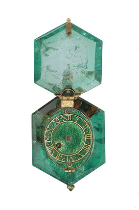 Watch set in a single Colombian emerald crystal: c. 1600