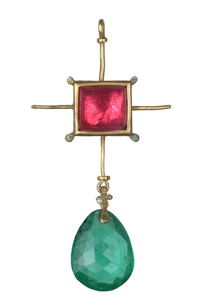 A gold and enamelled pendant set with red and green glass. 16th-17th century