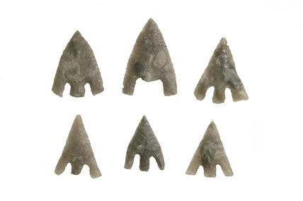 Selection of Bronze Age flint barbed and tanged arrowheads