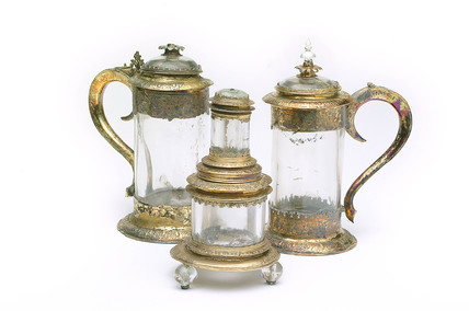 Two tankards and a salt of rock crystal with silver guilt mounts: 16th - 17th century