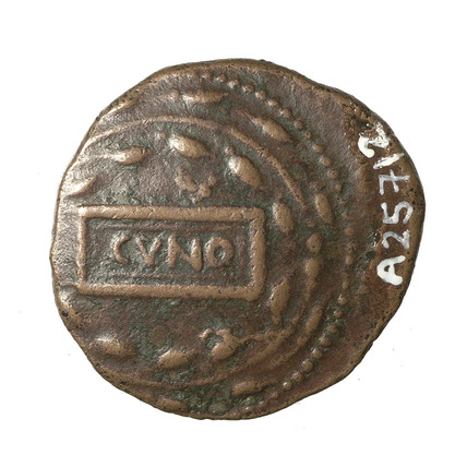 Obverse of an Iron Age bronze coin of the British ruler Cunobelin