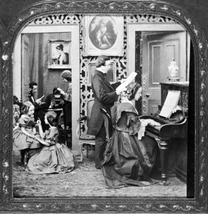 Family in an interior setting: 1870