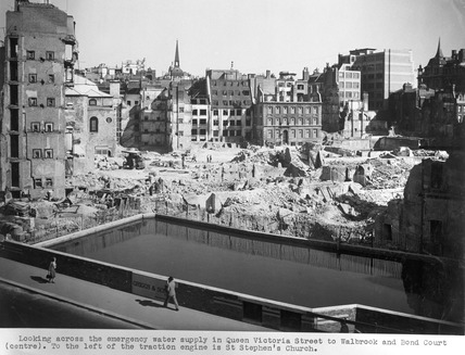 Emergency water supply at Queen Victoria Street: 1940's