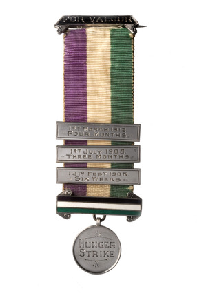 Obverse view of Suffragette Hunger Strike medal: 1912