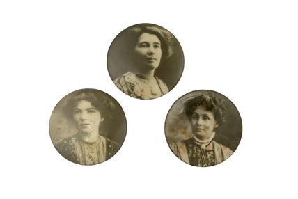 Photographic suffragette portrait badges: 20th century