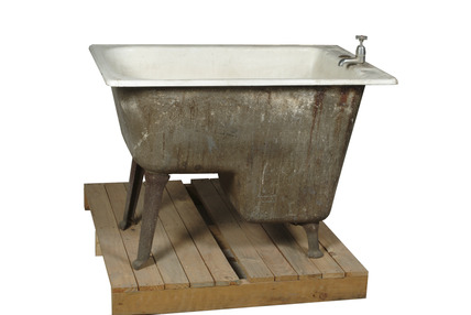Iron and enamel hip bath: 20th century