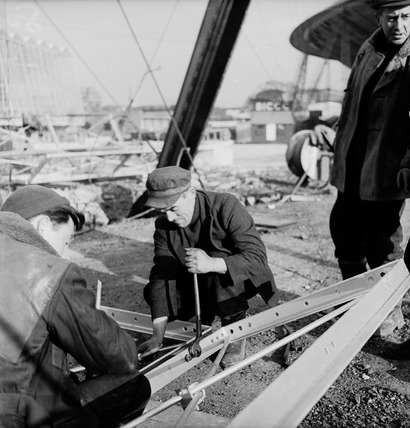 Construction workers on the South Bank Exhibition site: 20th century