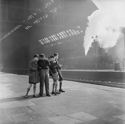 A group of schoolboy trainspotters: 20th century