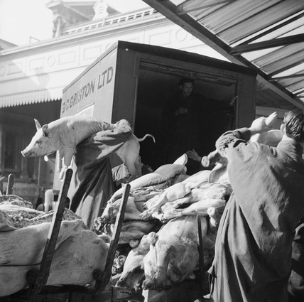 Delivery at Smithfield meat market: 20th century