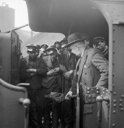 Trainee steam engine drivers: 1955