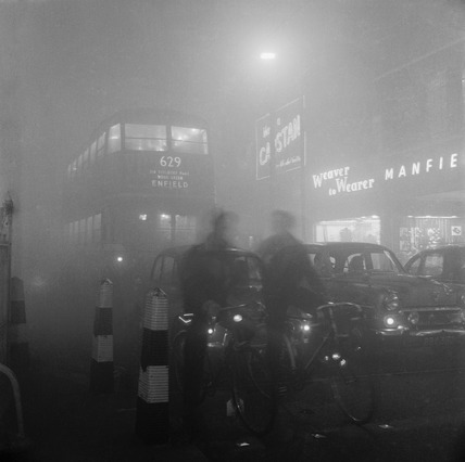 Traffic in smog at night: 1956