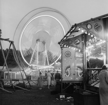 Hampstead Heath fair at night: 1958