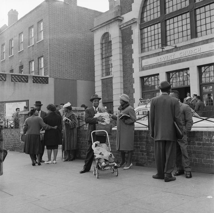 Congregation outside the Holloway Seventh-day Adventist Church: 20th century