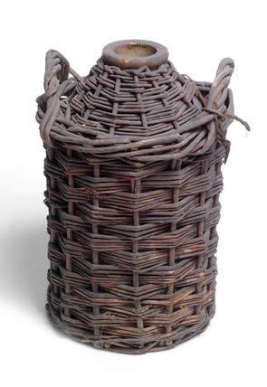 Storage jar with wicker basket cover: 20th century