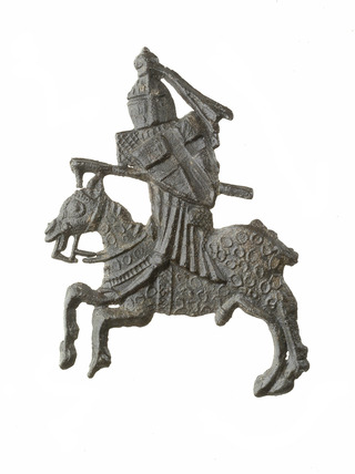 Pewter badge of a jousting knight : 14th century