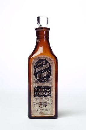 Brown glass chemist's bottle: 20th century