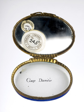 Interior of a blue-ground  patch snuff box: late 18th century